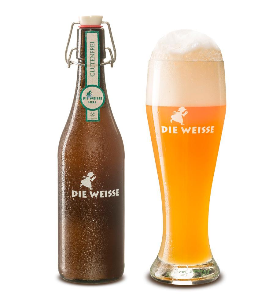 Flaska Bio Weisse Glutenfri och ölglas med vacker skumkrona