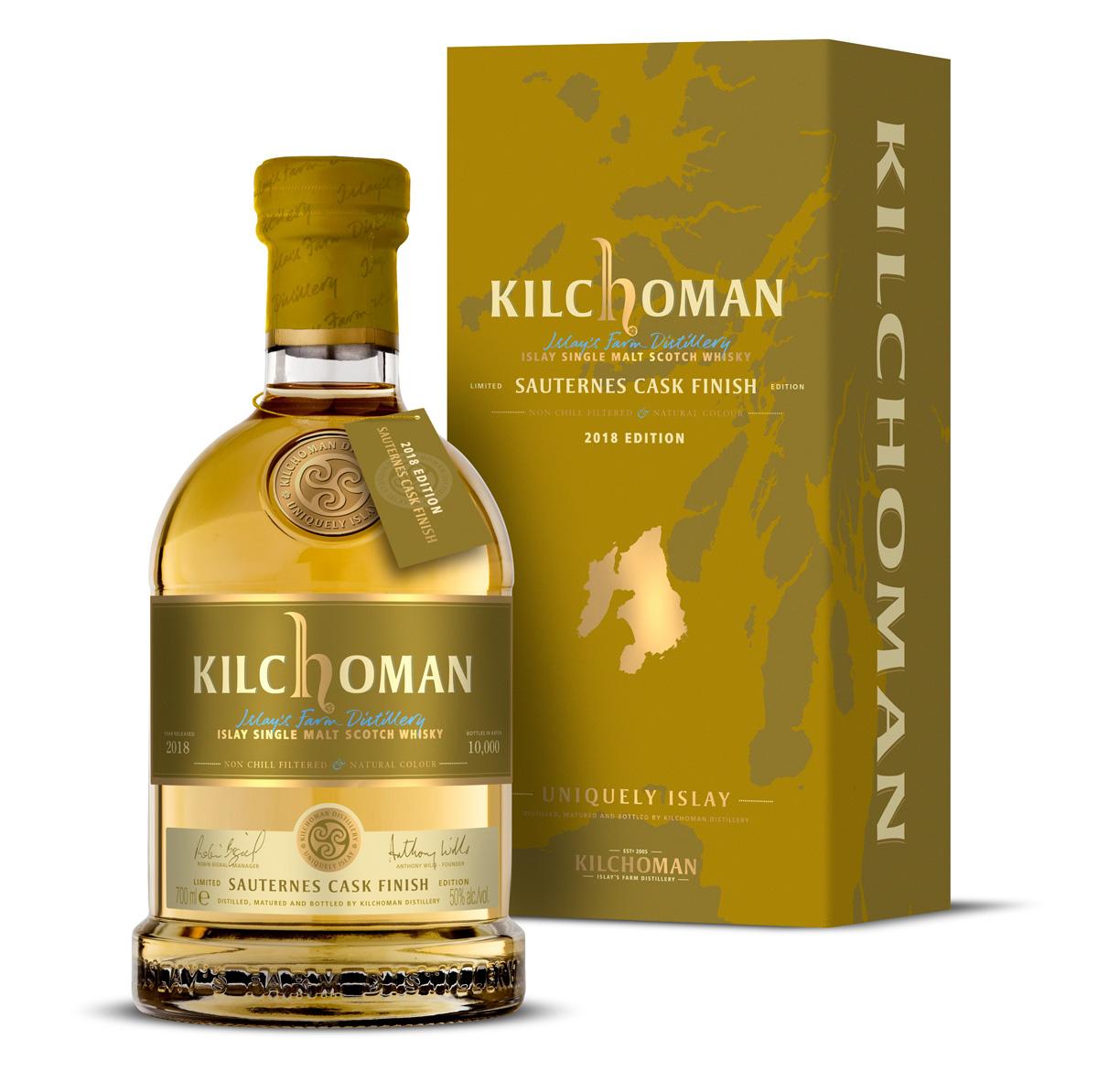Kilchoman Sauternes cask whisyk. Flaska och kartong  med livets vatten.