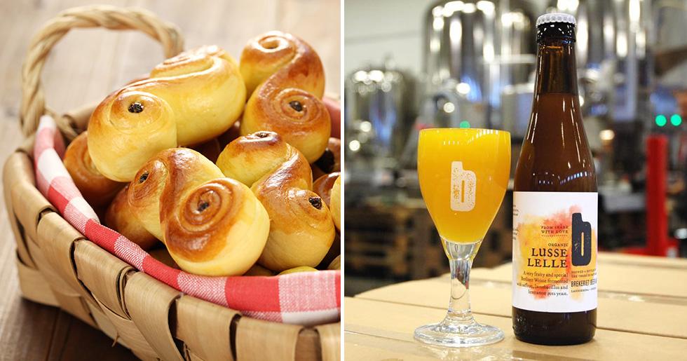 Till vänster ett fat med härligt nygräddade lussebullar och till höger det ölstinna substitutet: Brekeriets Lusse Lelle-öl upphällt i ett passande glas