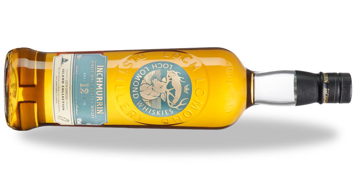 Inchmurrin whisky 12yo, liggande med skugga.