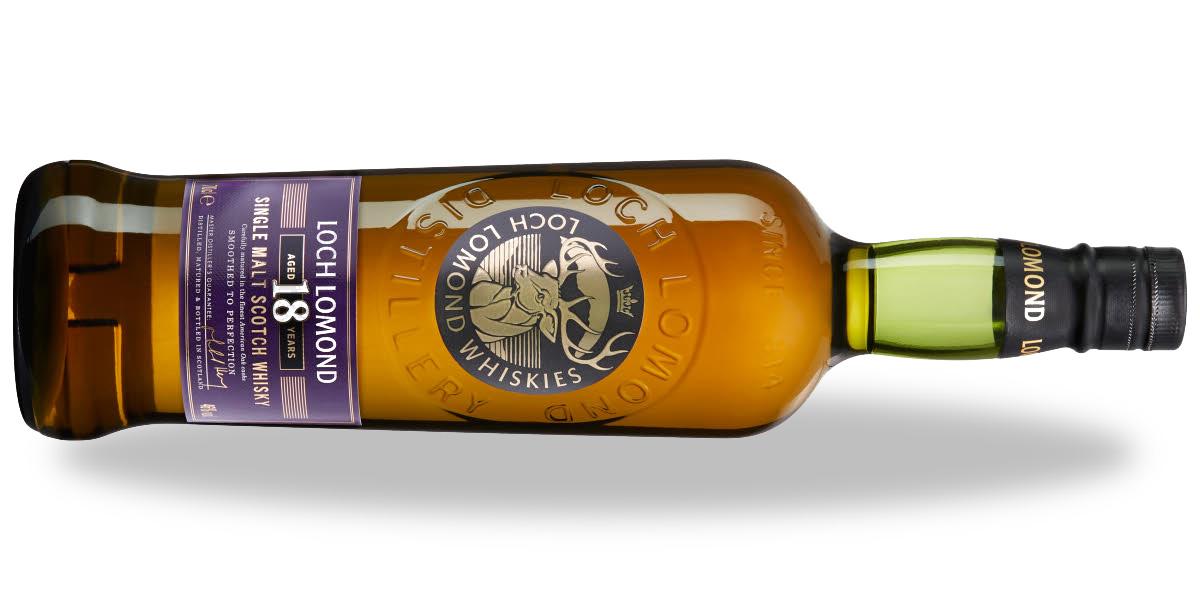 Loch Lomond Whisky 18yo, liggande med skugga.