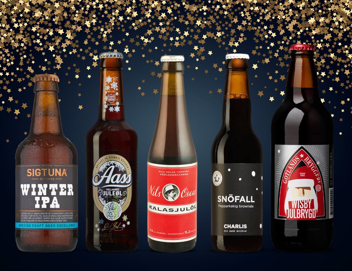 Mot en festligt stjärnbeströdd backdrop står här de fem första julölen som Allt om Whisky rekommenderar