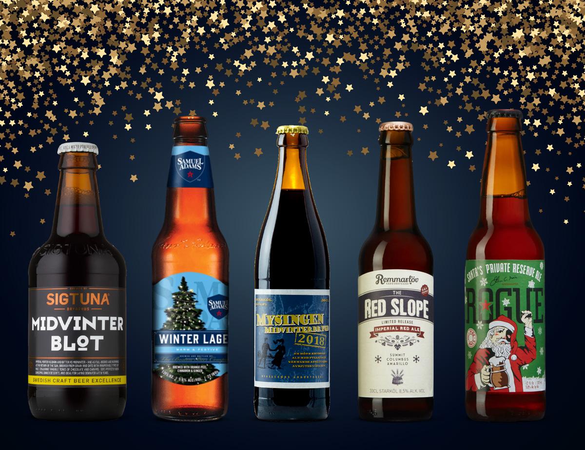 Mot en festligt stjärnbeströdd backdrop står här fem julöl till som Allt om Whisky rekommenderar